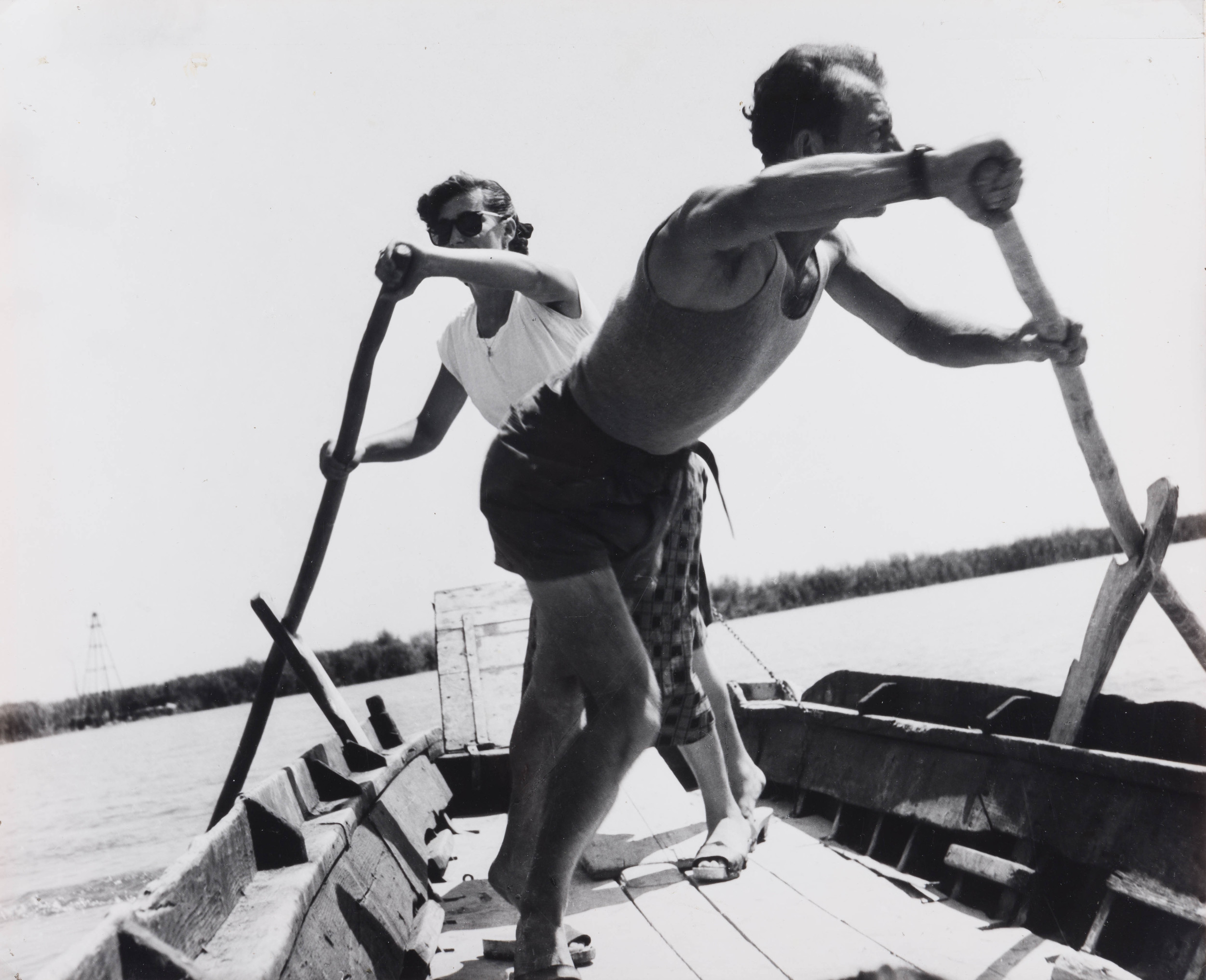 Il traghetto di Forti per l'isola Camerini, 1953